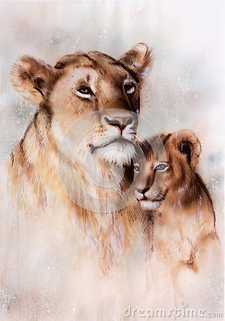 Free Illustration, Beautiful Airbrush Painting Of A Loving Lion Mother And Her Baby Stock Photos - 51234933