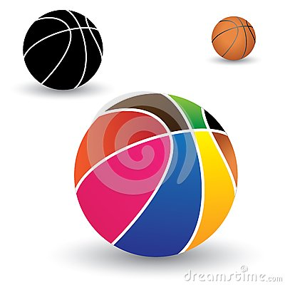 Illustration of beautiful colorful basket ball