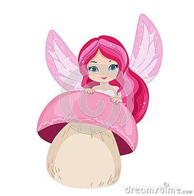 Illustration beautiful fairy is hiding behind a mushroom. Vector Illustration
