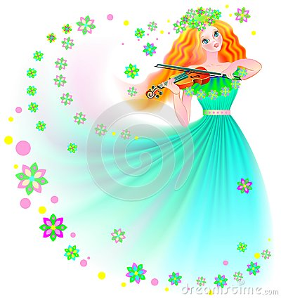 Illustration of beautiful fairy playing the violin. Vector Illustration