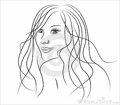 Illustration of beautiful girl with long hair