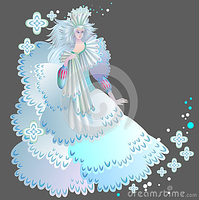 Illustration of beautiful medieval snow queen. Vector Illustration