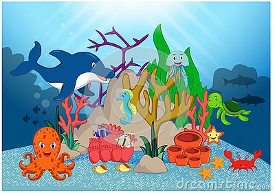 Beautiful Underwater World Cartoon Vector Illustration