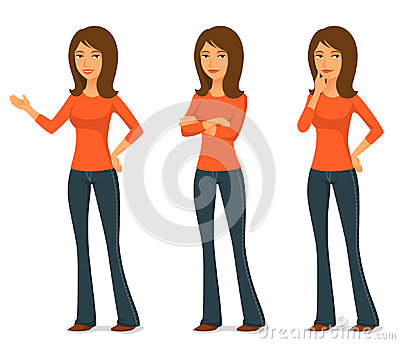 Illustration of a beautiful young woman in jeans