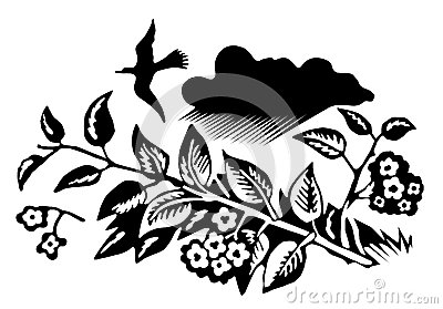 Illustration of a bird of a blossoming cherry flying over a branch
