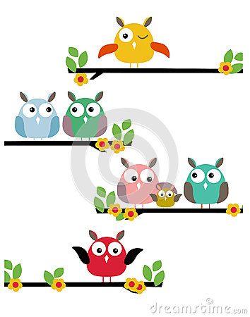 Illustration bird family on tree