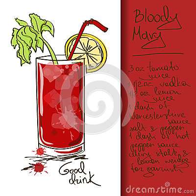 Illustration with Bloody Mary cocktail
