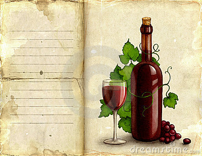 Illustration of bottle and glass of wine
