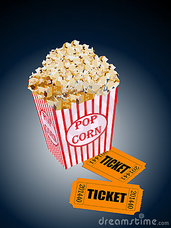 Illustration of box of popcorn with movie tickets