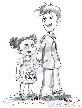 Illustration of boy and girl
