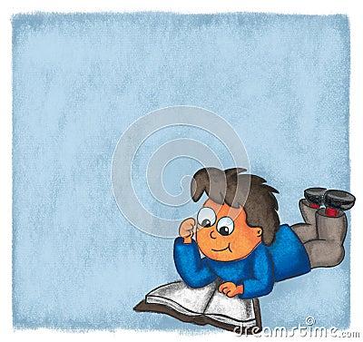 Illustration boy reading book comic evening chalk