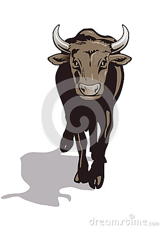 Illustration of a brown bull