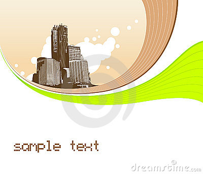 Illustration with buildings. Vector