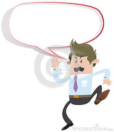 Business Buddy shouting with Speech Bubble