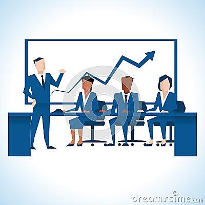 Illustration Of Businessman Addressing Board Meeting
