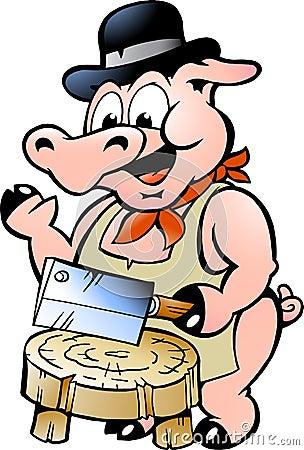 Illustration of an Butcher Pig
