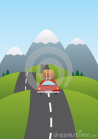 Illustration of a car on the road