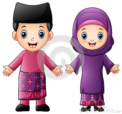 Cartoon Brunei couple wearing traditional costumes Vector Illustration