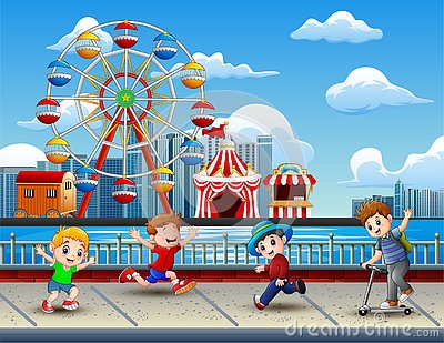 Cartoon of Children having fun on the lakeside with amusement park background Vector Illustration
