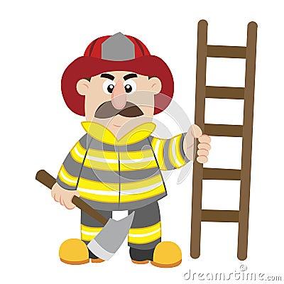 An illustration of cartoon fireman