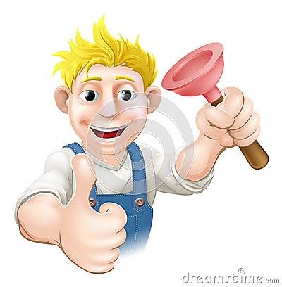 Cartoon plunger plumber