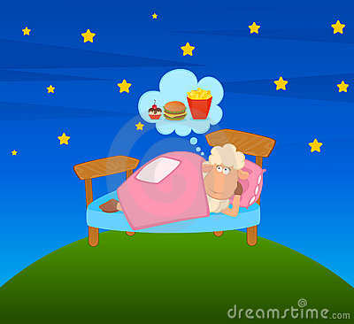 Illustration of cartoon sheep in bed
