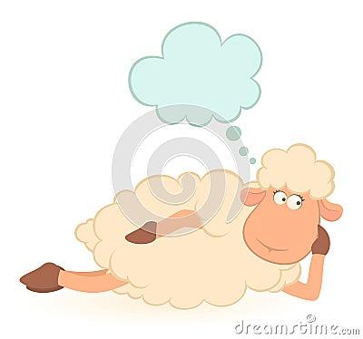 Illustration of cartoon sheep dreams