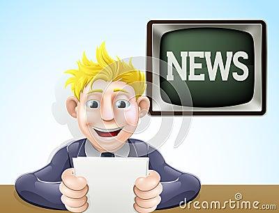 News reader cartoon