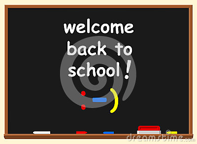 Illustration of a chalkboard with welcome back to school text ov