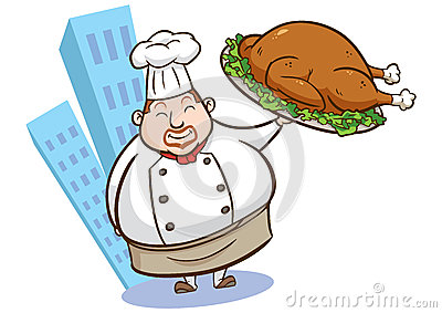 Illustration of a chef holding delicious dish 02