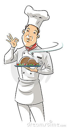 Illustration of a chef holding delicious dish