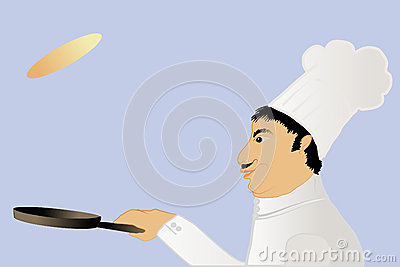 Chef tossing a pancake