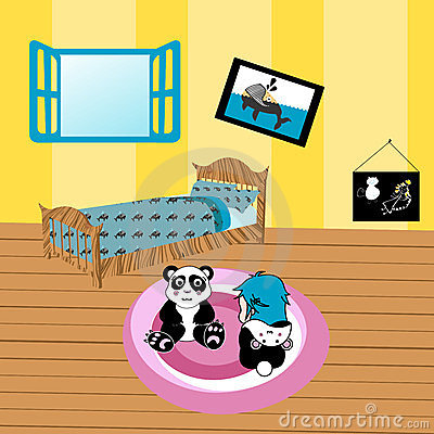 Illustration of a child playing in her room