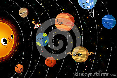 Illustration For Children The Happy Planets In Solar System Stock Photo