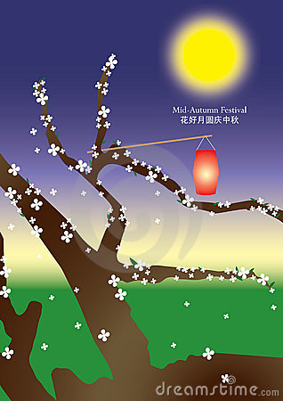 Illustration of Chinese Mid-Autumn Festival