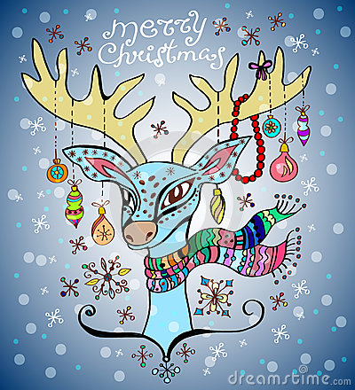 Illustration of a christmas deer