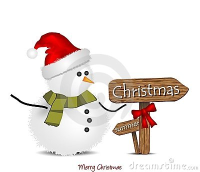 Illustration with Christmas snowman and signage