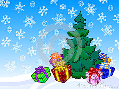 The illustration of a christmas tree and present boxes with snow