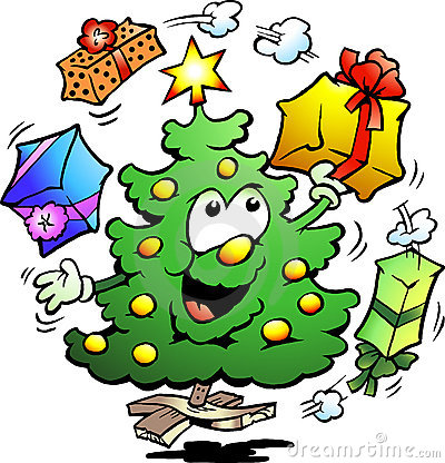 Illustration of an Christmas Who Juggle Gifts