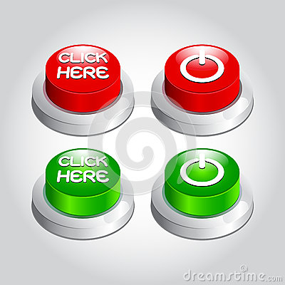 Illustration of click here power button icon