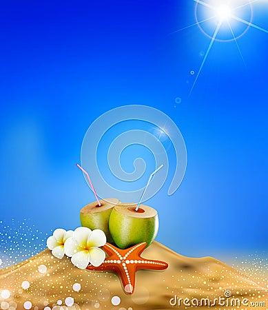 Illustration with coconut cocktai