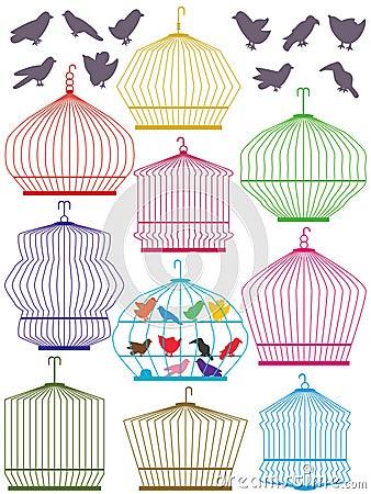 Colorful Birdcage Set_eps