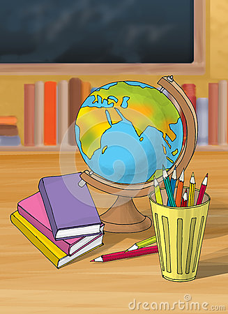 Illustration of colorful book with pencil globe in the school