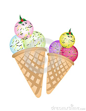 Triple Ice cream Scoops on Two Cones