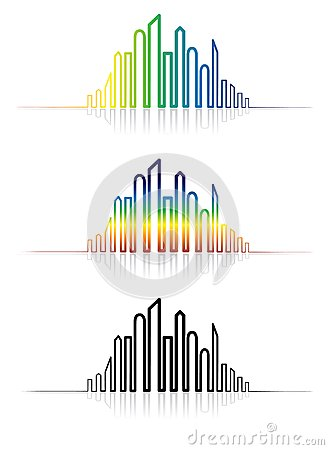 Illustration of colorful metropolitan city skyline