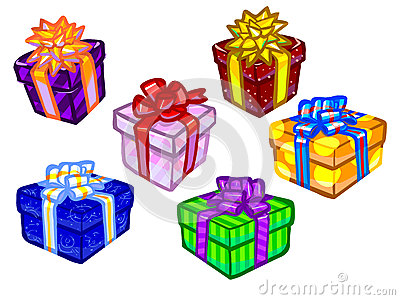 The illustration of colorful present boxes.