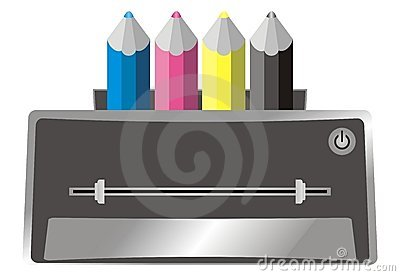Illustration of colour (color) printer and cyan, m