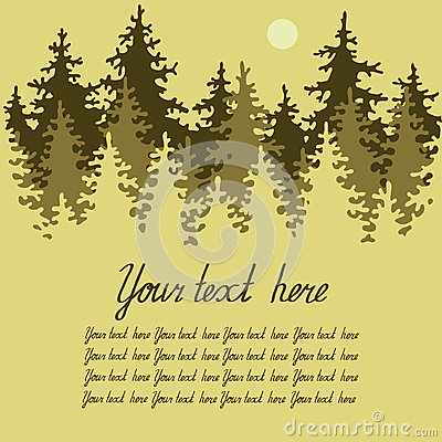 Illustration of coniferous forest with a place for
