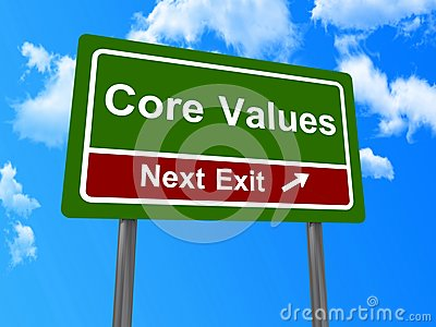Core values next exit sign