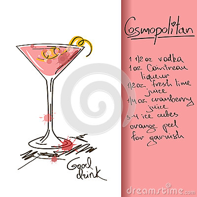 Illustration with Cosmopolitan cocktail
